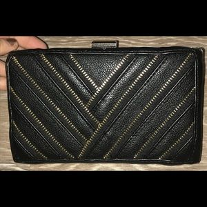 Handbags - Black and gold bag/ clutch with zipper detail